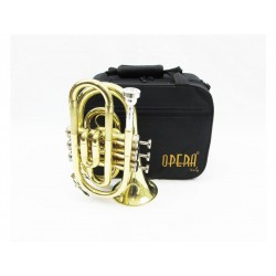 OPERA 6500L TROMBA POCKET 3 PISTONI IN SIB MINI TASCABILE LACCATA ORO + CUSTODIA
